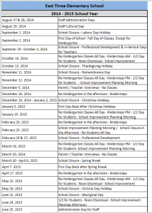 ETES year calendar