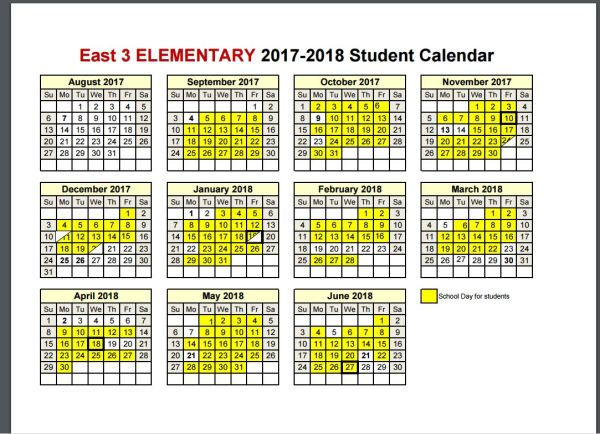 elementary student calendar 2017 18
